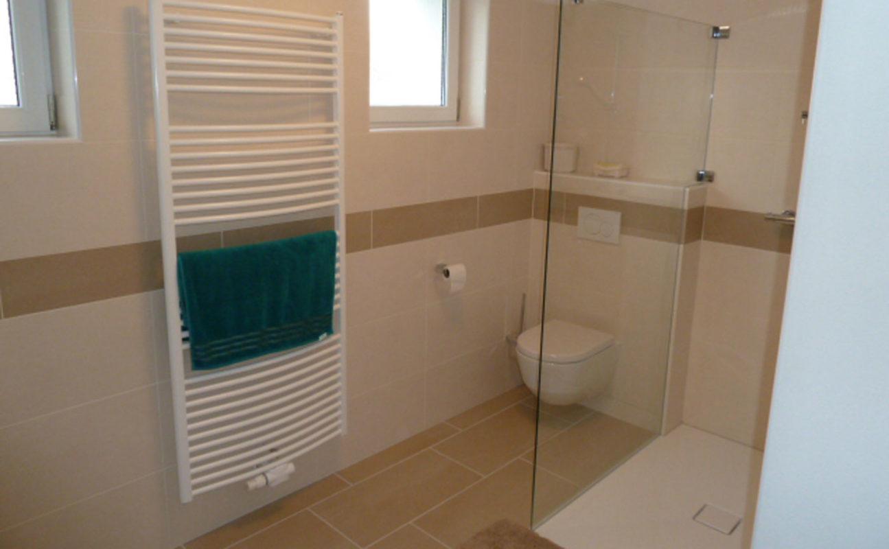 Begehbare Dusche und WC